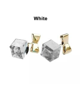 Gold Bow Knot Earrings White Square Cube Crystal Ladies Fashion Jewellery