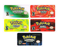 Pokemon GBA Labels Stickers Emerald FireRed Sapphire LeafGreen Gameboy Advance