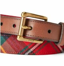 Nwt Polo Ralph Lauren Men's Scottish Wool Tartan Belt Italian Leather Trim Sz 40