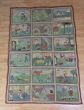 Antique Hooked Pictorial Rug Grandmother + Granddaughter 1899 64X44 Inches AAFA