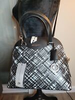 New Women's Karl Lagerfeld Paris Leather Dome Satchel Black/White Doreen $228