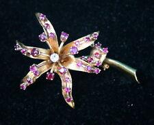 Retro 14K Yellow Gold Diamond & Rubies Brooch   MAGNIFICENT