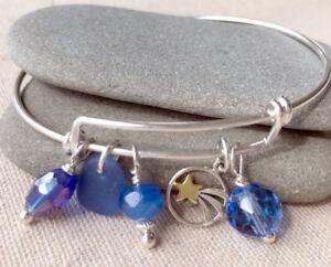 Adjustable SS Star Charm Bracelet w/ Rare Cornflower Blue Genuine Sea Glass