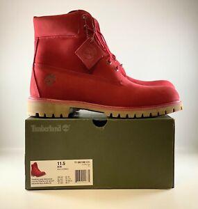 Timberland Premium 6 inch Waterproof Boot 11.5 Medium Red Nubuck TB0A1149 626