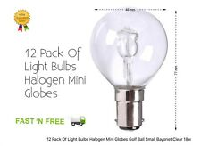 12 Pack Of Light Bulbs Halogen Mini Globes Golf Ball Small Bayonet Clear 18w