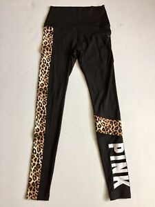 Victoria Secret Pink Ultimate High Waist Legging Size XS Black Leopard Pink Logo