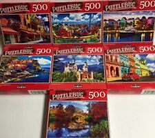 "Lot Of 7 Puzzlebug 500pc 18.25"" X 11"" Puzzles, New, Sealed ,"