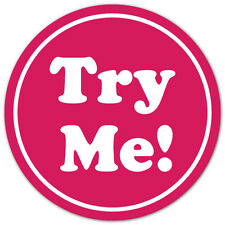 """TRY ME White on Pink 0.75"""" Dia. Circle Stickers, Roll of 1,000 Labels"""