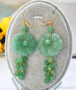 z5714 30mm green jade carved flower jade bead dangle earring 14k