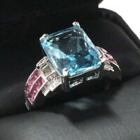 Gorgeous Princess Aquamarine Ring Women Wedding Engagement Jewelry Gift
