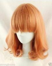New Fashion Medium Orange Mix Curly Cosplay BOB Wavy Wig F212