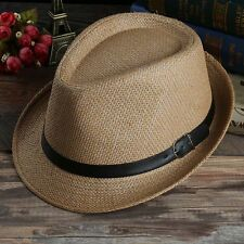 Unisex Summer Beach Hat Sun Jazz Panama Gangster Cap Men Women Trilby Fedora