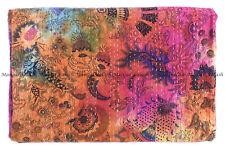 Kantha quilt mukut tie-dye Indian handmade bohemian bedspread king blanket throw