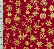 Red Metallic Gold Snowflakes Christmas Cotton Fabric - Choose Size