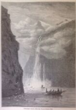 Geiranger Fjord, With The Seven Sisters Fall,  1882 Antique Print, Original