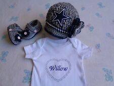 Crochet Dallas Cowboy Baby Girl Hat, Booties, Bodysuit (0-3m, 3-6m, acrylic)