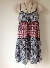 TOPSHOP SIZE 6 PINK BLUE BLACK WHITE FLORAL AZTEC SHORT DRESS TUNIC TOP HOLIDAY