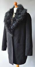 Ladies Black Atmosphere Coat with Faux Fur Collar Size UK 10.