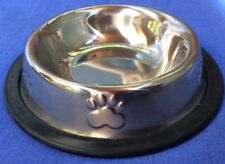 Pet Bowls Stainless No Tip Or Slip Food Water Dish With Paw Print Kitten Puppy