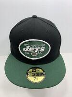 "New Era 59FIFTY Black & Green New York Jets 7 5/8"" Fitted Flat Bill Cap, NEW!"