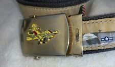 Rare Vintage Solid Brass Airplane Belt Buckle Canvas Plane Airplane Made in USA