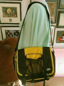 LL Bean Canvas Fanny Pack Hiking Hip Shoulder Bag Black & Yellow