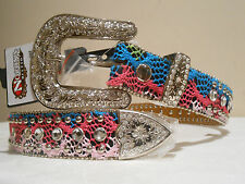 REDUCED! Women's & Girls Pink & Turquoise Nocona Belt - Size 26 - 28