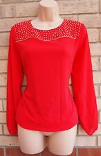 RED LONG SLEEVE ZIP BEADED GOLD STUDS FORMAL ELEGANT BLOUSE TUNIC TOP S 8 10