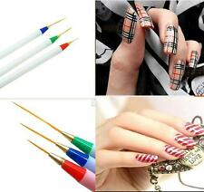 3pc Nail Art Design Acrylic Drawing Painting Striping Tiny Pen Brush Sets Supply