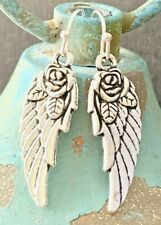 New! Silver Etched Rose Wing Dangle Earrings. Angels. Love. Believe.