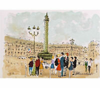 Urbain HUCHET Place Vendome Paris Signed Lithograph 7-1/2 x 11