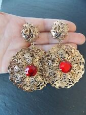 Red and Gold Baroque Style Disc Statement Earrings -UK SELLER