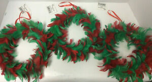"""Lot / 3 Red & Green Feather Wreath soft Christmas decoration wall door craft  8"""""""