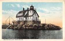 Rockland Maine Breakwater Light House Waterfront Antique Postcard K78733