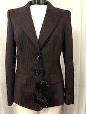 Escada Women's Blazer Brown Wool Stretch Purple Stripes Size 40 (10) NWT $1550