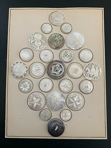 Lot of (25) Antique Vintage MOP Mother Of Pearl Buttons - BUTTON AUCTION #20