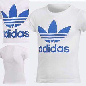 ✨Adidas Originals Trefoil T-Shirt ✨CD8437 White/Blue ✨Boys Sz Medium 💯Authentic