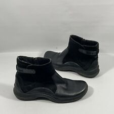 Clarks Womens Ankle Boots 8.5M Black Leather Zip