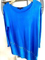 Ladies Julien Mcdonald Cobalt Blue Asymetric Stud Longline Sloutchy Jumper Sz14