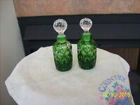 Bohemian Emerald Green Vintage Cut Glass 2 Matching Perfume Bottle