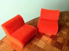 Sessel orange Schaumstoff Puppenhaus 1:12  Bodo Hennig 70er Jahre Puppenstube