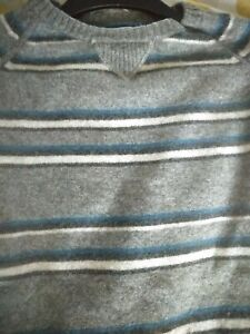 Mens Fat Face Lambswool Wool Thick Knit Jumper Pullover Crew Neck Grey  XL VGC