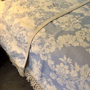 """Mafalda Matelasse Bedspread Queen Sky Blue & Ecru Floral- NEW 102"""" X 118"""""""