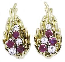 MID CENTURY ITALIAN ESTATE RUBY & DIAMONDS 18 KT GOLD VINTAGE DESIGNER EARRINGS