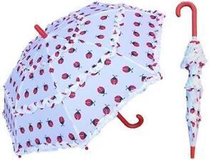 """Rain Sun Ruffled 32"""" KIDS Parasol Umbrella LadyBUG White with Red Lady bugs"""