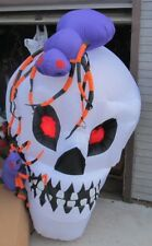 Halloween Inflatable 6 foot Skull with spiders NICE in box