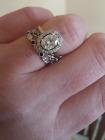 1.25Ct Oval Shape Diamond 14k White Gold Over Wedding Engagement Band Ring Set 3