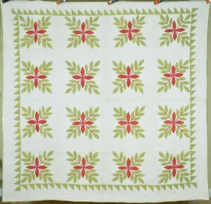 """Well Quilted Vintage 1850's Red & Green """"Laurel Leaves"""" Applique Antique Quilt!"""