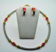 GORGEOUS Silver Chain Cables Choker style pink Cat eye Fashion necklace set