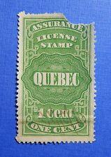 1876 1c CANADA QUEBEC LICENSE REVENUE VD # QA1 B # 1 USED PERF 12        CS32341